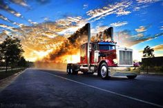Peterbilt rolling down the road