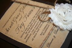 Printed burlap wedding invitation!