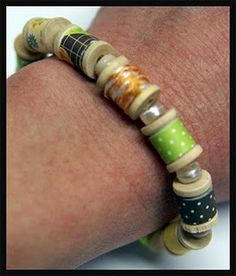 great bracelet using wooden spools, twine and Xyron adhesive!