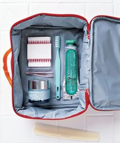 Keep shampoo from crossing unauthorized borders by packing toiletries in a sturdy old lunch box in your luggage.