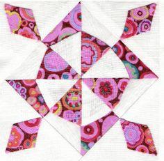 F1 block - Contemporary Dear Jane quilt, Kaffe Fassett fabrics, at Une aiguille dans une botte de foin