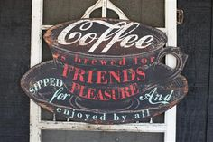 36L x 22.75H Wood #Coffee Is Brewed? Wall Plaque