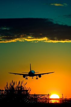 Airline Landing into the sunset...