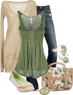 """Green & Cream"" by lagu ❤ liked on Polyvore"