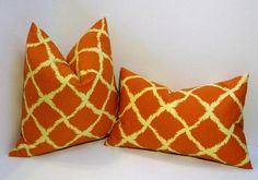 Listing is for a pair of pillow covers: one 18-inch and a 12x18 lumbar in diamond ikat design in orange