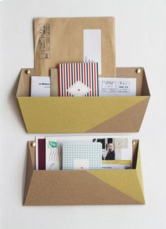 Cardboard Wall Pockets - spray paint or cover w/ fabric