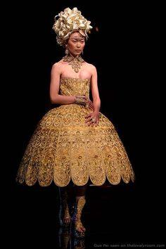 Guo Pei Rose Studio women's fashion collection gold lampshade dress
