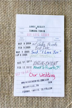 Old libary card save the date #wedding