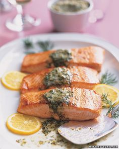 Seared Salmon with Mustard-Caper Butter. Ingredients    6 tablespoons unsalted butter, softened  2 tablespoons drained capers, coarsely chopped  4 1/2 teaspoons coarsely chopped fresh dill, plus sprigs for garnish  2 teaspoons grainy mustard  Grated zest of 1/2 lemon, plus 4 thin lemon slices for garnish  Freshly ground pepper  4 salmon fillets (6 to 7 ounces each), skinned  Coarse salt  1 tablespoon vegetable oil