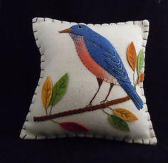 felt applique bird pillow
