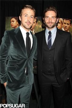 Seriously, could #RyanGosling and #BradleyCooper be any more good looking? Click for more premiere pictures #ThePlaceBeyondthePines