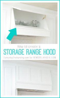 How to create a Custom Storage Range Hood via @Remodelaholic #kitchenstorage #whitekitchen #DIYkitchen #rangehood