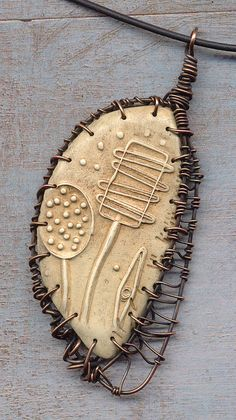 Pam Sanders - Polymer clay and wire pendant