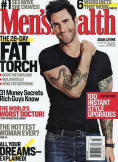 Men's Health Magazine cover, March 2013 issue featuring Adam Levine -- he demonstrates yoga moves inside.   To contact TWX Magazine Customer Service by phone about your Men'sHealth (MENSHEALT) magazine subscription: 1- (877) 463-3032