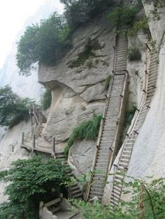 Part of the Mt. Huashan Hiking Trail, China - almost straight up!   ...at least there is an up and a down 'ladder'