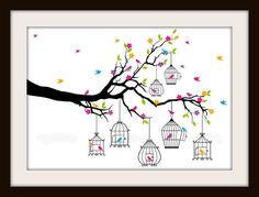 Colorful Tree With Hanging Birdcages and Birds Cross Stitch Pattern