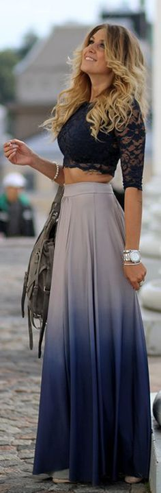 gorgeous ombre maxi with cropped lace top
