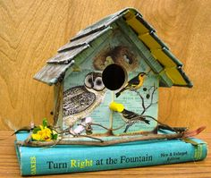 Birdhouse made from books.