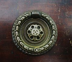 Gorgeous,,Bronze....Antique drawer pulls.ring pull..antique hardware  Circa 1840