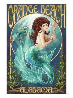 Orange Beach, Alabama - Mermaid Poster travel art