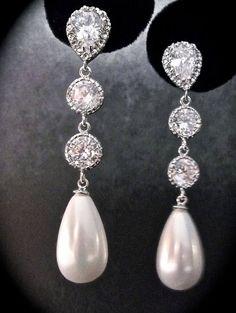 Pearl earrings  Long  Sterling silver  Pearl by QueenMeJewelryLLC, $49.99