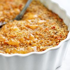 "Baked Pineapple Casserole...""Some people serve this casserole for dessert, but it's a great side dish for pork, especially something like a good Coca-Cola ham""...."