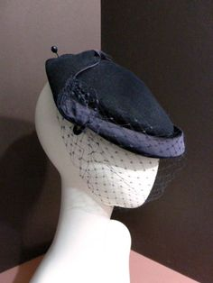 Vintage 50s Sheila Chicago Tilt Clip Hat Navy by OneTrickChassis, $38.00