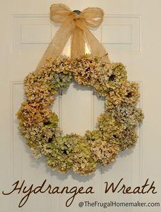 decor, hydrangea wreath, idea, wedding flowers, frugal homemak, diy project, fall wreaths, dri hydrangea, hydrangeas