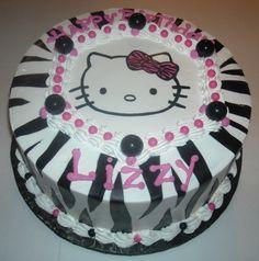 Torta decorada con hoja comestible (Zebra y cara Hello Kitty)