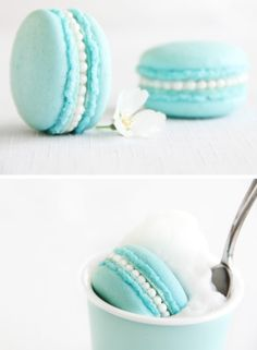 Tiffany's blue pastel macaroons #recipe