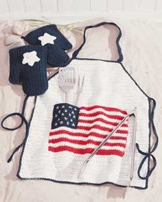 american flag, crochet free patterns, apron patterns, crochet patterns, bbq apron