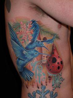 Blue Hummingbird Snowflake tattoo by Melissa Fusco of Club Tattoo Arizona