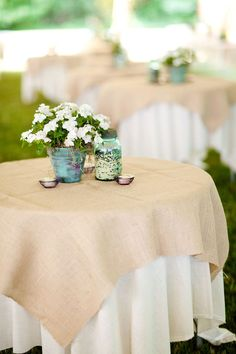 table settings, table clothes, potted plants, buckets, brides, burlap tablecloth, table linens, table centerpieces, table designs