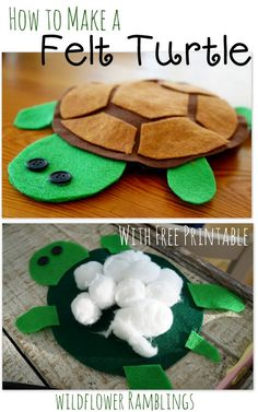 Lily Pad Playland… How to make a Felt Turtle {ABC Animals in Felt} with free printable! - Wildflower Ramblings #crafts