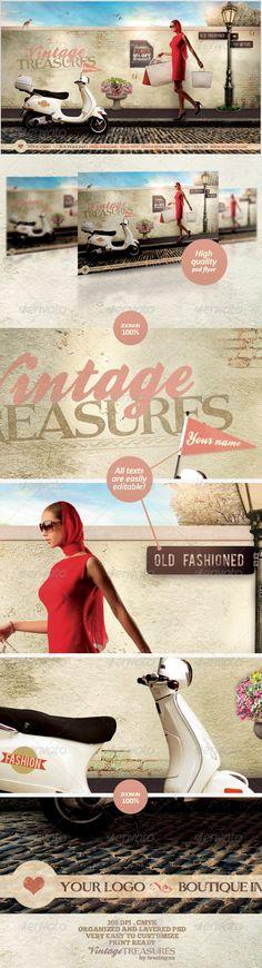 fashion flyer, flyer templat, vintag treasur, promo flyer, print templat