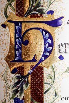 "Rosemary Buczek Illuminated monogram ""H"". A calligraphy artist, she offers her work for custom wedding invitations, etc."