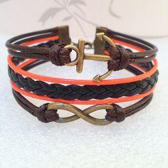 Anchor bracelet,Infinity Bracelet,Love Bracelet, Retro Bracelet. Brown Wax Cords and Black braid bracelet.. $7.99, via Etsy.