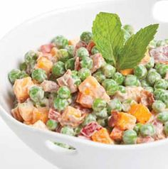 Cheddar Cheese Pea Salad is so good and it's so easy! Use sharp or flavored cheddar for a little extra kick. Want some crunch? Sprinkle with dry-roasted peanuts.