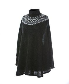 Icelandic Wool Poncho from Varma - feature a traditional Icelandic yoke pattern that is hand-knitted with care in Iceland. #wool #icelandic #iceland #varma #poncho