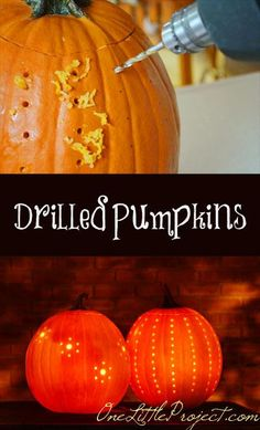 Drilled pumpkins!  What an amazing idea for Halloween!  These are so easy and end up looking beautiful!