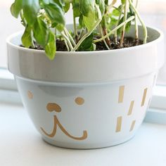 Celebrate the start of spring by making this super cute planter using just a bowl and some contact paper!
