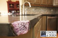 geode highlight in a concrete countertop - very cool!