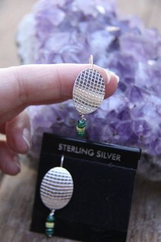 """Sterling Silver Oval Disc Earrings w/ green by Crow's Creations for SistersArtisans, $38.00   *PLEASE Click on the """"etsy.com"""" words below to follow the link to this item."""