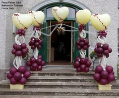 Create a lovely entrance into the church or reception hall with balloon Columns like these. The colors can be changed to match any #wedding color scheme. Design by Fiona Fisher, CBA.