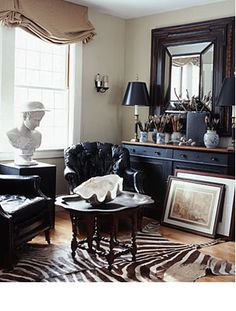 nice room with combination of modern and contemp accessories interior design, rug, zebra