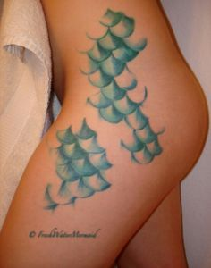 """mermaid scales tattoo """"I must be a mermaid I have no fear of depth and a great fear of shallow living """" tattoo idea, scale tattoo, mermaid scale, mermaid tattoos, tattoo patterns, the little mermaid, a tattoo, leopard prints, white ink"""