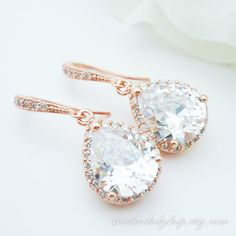 Rose Gold Earrings Wedding Bridal Jewelry by SweetMelodyShop