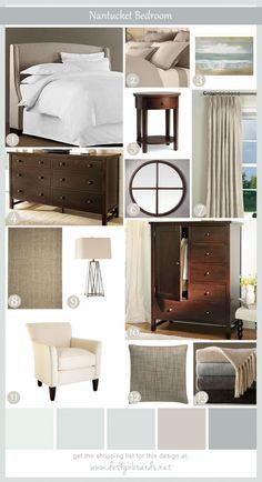 dark wood furniture, white linens, beautiful gray/blue paint... love this!!