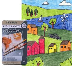 Art Projects for Kids: A Hilly Landscape. Use my FREE download grid paper. Students are to draw straight houses on an angled landscape. Great perspective practice.