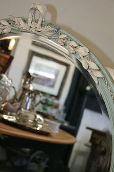 Beautiful mirror in Duck Egg and Old White with clear and dark wax.